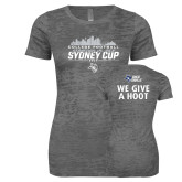 Next Level Ladies Junior Fit Dark Grey Burnout Tee-2017 College Football Sydney Cup