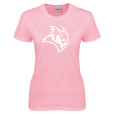 Ladies Pink T-Shirt-Owl Head