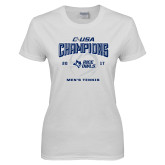 Ladies White T Shirt-Conference USA Mens Tennis Champions