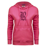 Fuchsia Fleece Hood-Official Logo Hot Pink Glitter
