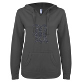 ENZA Ladies Dark Heather V Notch Raw Edge Fleece Hoodie-R Graphite Soft Glitter