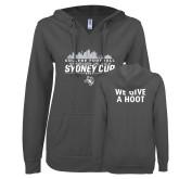 ENZA Ladies Dark Heather V Notch Raw Edge Fleece Hoodie-2017 College Football Sydney Cup