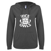 ENZA Ladies Dark Heather V Notch Raw Edge Fleece Hoodie-Rice Owls Football Mom