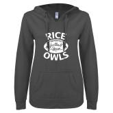 ENZA Ladies Dark Heather V Notch Raw Edge Fleece Hoodie-Rice Owls Football Mom
