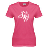 Ladies Fuchsia T Shirt-Owl Head