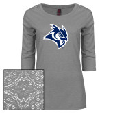 Ladies Grey Heather Tri Blend Lace 3/4 Sleeve Tee-Owl Head