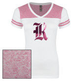 Ladies White/Bright Pink Juniors Varsity V Neck Tee-R Foil