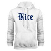 White Fleece Hood-Rice Wordmark