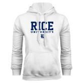 White Fleece Hood-Rice University Stacked