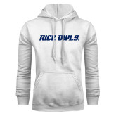 White Fleece Hoodie-Rice Owls