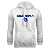 White Fleece Hoodie-Rice Owls With Owl Head