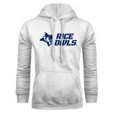 White Fleece Hoodie-Rice Owls Stacked