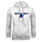 White Fleece Hoodie-Rice Owls Full Owl