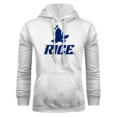 White Fleece Hoodie-Full Owl Rice Stacked