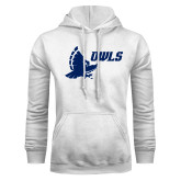 White Fleece Hoodie-Full Owl Owls