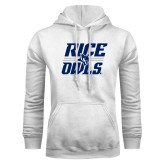 White Fleece Hood-Rice Owls Stacked