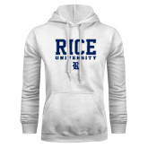 White Fleece Hood-Rice University Stacked