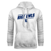 White Fleece Hoodie-Rice Owls Fancy Lines