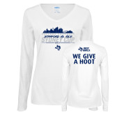 Ladies White Long Sleeve V Neck T Shirt-2017 College Football Sydney Cup