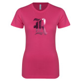 Ladies SoftStyle Junior Fitted Fuchsia Tee-R Foil
