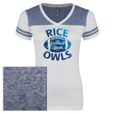 Ladies White/Heathered Royal Juniors Varsity V Neck Tee-Rice Owls Football Mom Foil
