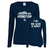 Ladies Navy Long Sleeve V Neck T Shirt-2017 College Football Sydney Cup