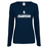 Ladies Navy Long Sleeve V Neck T Shirt-2017 Womens Soccer Champions