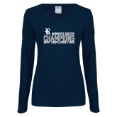 Ladies Navy Long Sleeve V Neck Tee-2017 Womens Soccer Champions - Bar Design