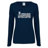 Ladies Navy Long Sleeve V Neck T Shirt-2017 Womens Soccer Champions - Bar Design