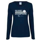 Ladies Navy Long Sleeve V Neck Tee-2018 Rice Regular Season Volleyball Champions