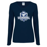 Ladies Navy Long Sleeve V Neck Tee-2018 CUSA Volleyball Champions