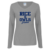 Ladies Grey Long Sleeve V Neck T Shirt-Rice Owls Football Stacked