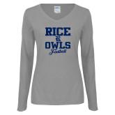 Ladies Grey Long Sleeve V Neck T Shirt-Rice Owls Football Stacked