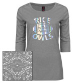 Ladies Grey Heather Tri Blend Lace 3/4 Sleeve Tee-Rice Owls Football Mom Foil