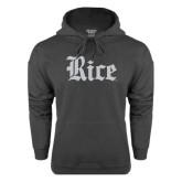 Charcoal Fleece Hood-Rice Wordmark
