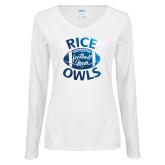 Next Level Ladies White Long Sleeve T Shirt-Rice Owls Football Mom Foil