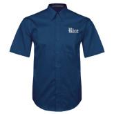 Navy Twill Button Down Short Sleeve-Rice Wordmark