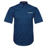 Navy Twill Button Down Short Sleeve-Rice Owls Wordmark