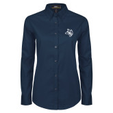 Ladies Navy Twill Button Down Long Sleeve-Owl Head