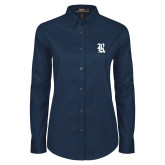 Ladies Navy Twill Button Down Long Sleeve-R