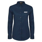 Ladies Navy Twill Button Down Long Sleeve-Rice