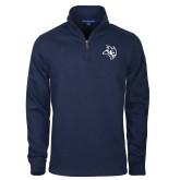 Navy Slub Fleece 1/4 Zip Pullover-Owl Head