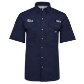 Columbia Bonehead Navy Short Sleeve Shirt-Rice Wordmark