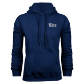 Navy Fleece Hood-Rice Wordmark