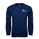Navy Fleece Crew-Rice Wordmark
