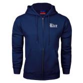 Navy Fleece Full Zip Hood-Rice Wordmark