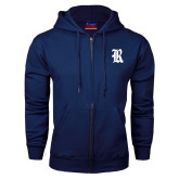Navy Fleece Full Zip Hood-R