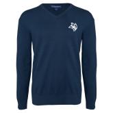 Classic Mens V Neck Navy Sweater-Owl Head