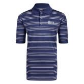 Adidas Climalite Navy Textured Stripe Polo-Rice Wordmark