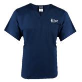 Unisex Navy V Neck Tunic Scrub with Chest Pocket-Rice Wordmark